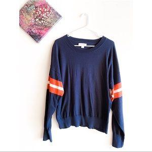 🖤 Velvet Varsity Sleeve Sweater | Large